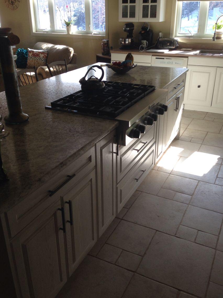 Big white washed oak kitchen island all finished up   Oak ...