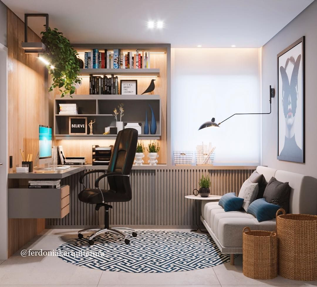 E O Tanto Que Esse Home Office Ficou Lindo E Aconchegante! • • •