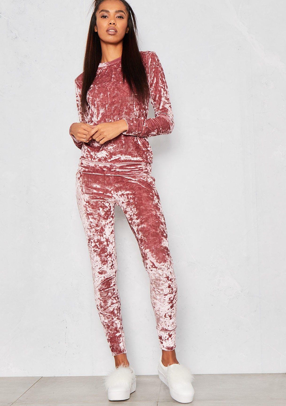 6f12bc029a80  Viviana  Pink Crushed Velvet Lounge  Tracksuit