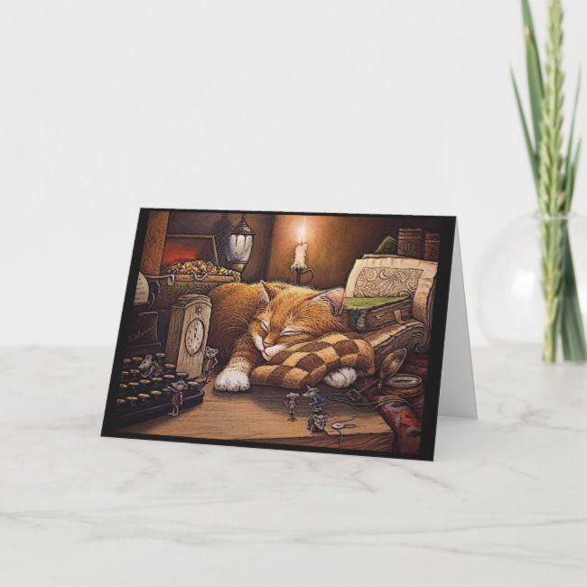Sleeping Kitty Cat Greeting Card #sleeping #kitty #card #cat #card