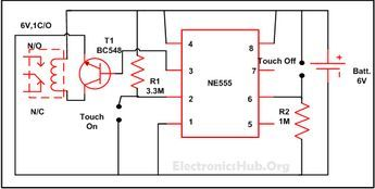 Touch ON and OFF Switch Circuit | Circuit diagram, Circuit ...