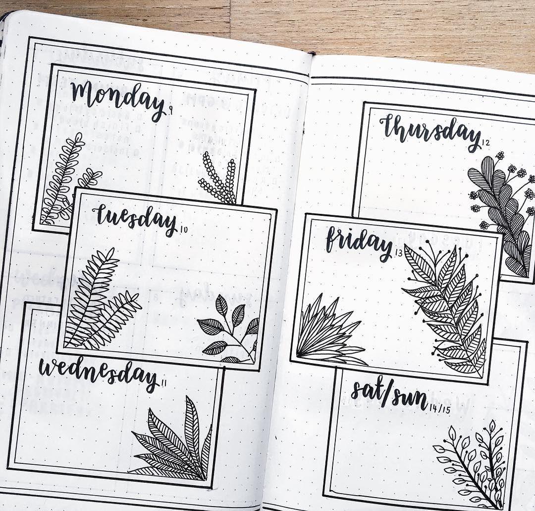 Weekly spread vegetationplantspalms bullet journals pinterest