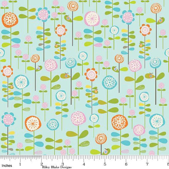 04188  -Deena Rutter for Riley Blake Happier C5502 Garden in blue color- 1 yard. $6.50, via Etsy.
