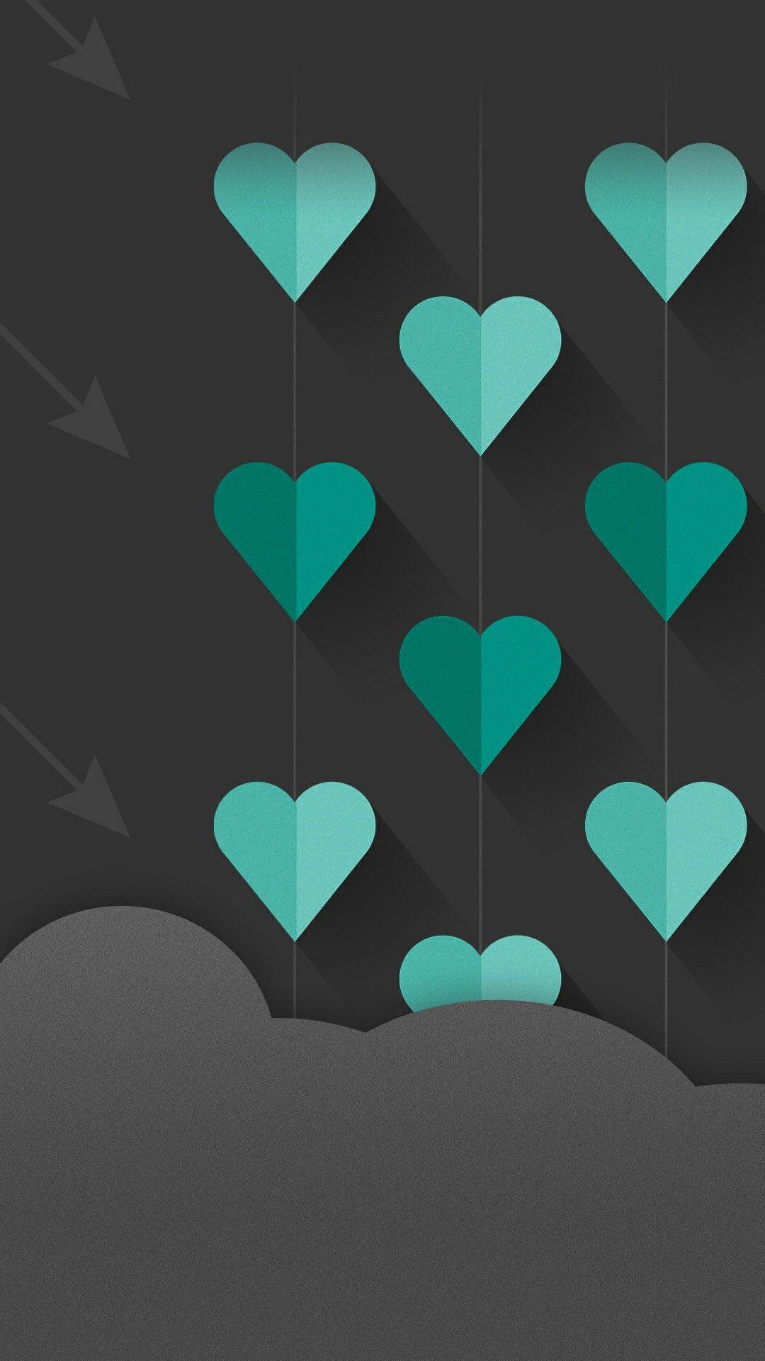 Teal Hearts Heart Iphone Wallpaper Heart Wallpaper Pretty Wallpapers