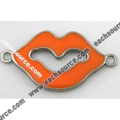 Bracelet bar, lip charm, enamel alloy connector, platinum plated (FDCN456) app 20x35mm - Eachsource.com Images
