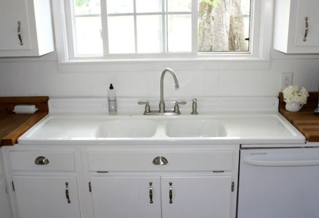 vintage kitchen sink with drainboard | Farmhouse sink ...