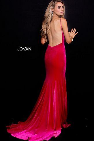 ca9e8df5acd Hot Pink Backless V Neck Fitted Velvet Prom Dress 57900