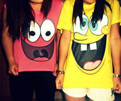 Oh my gosh spongebob and patrick shirts oh my sisters would love them and so would Hannah and I