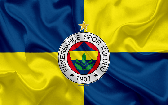 Download Wallpapers Fenerbahce Sk 4k Blue Yellow Silk Flag
