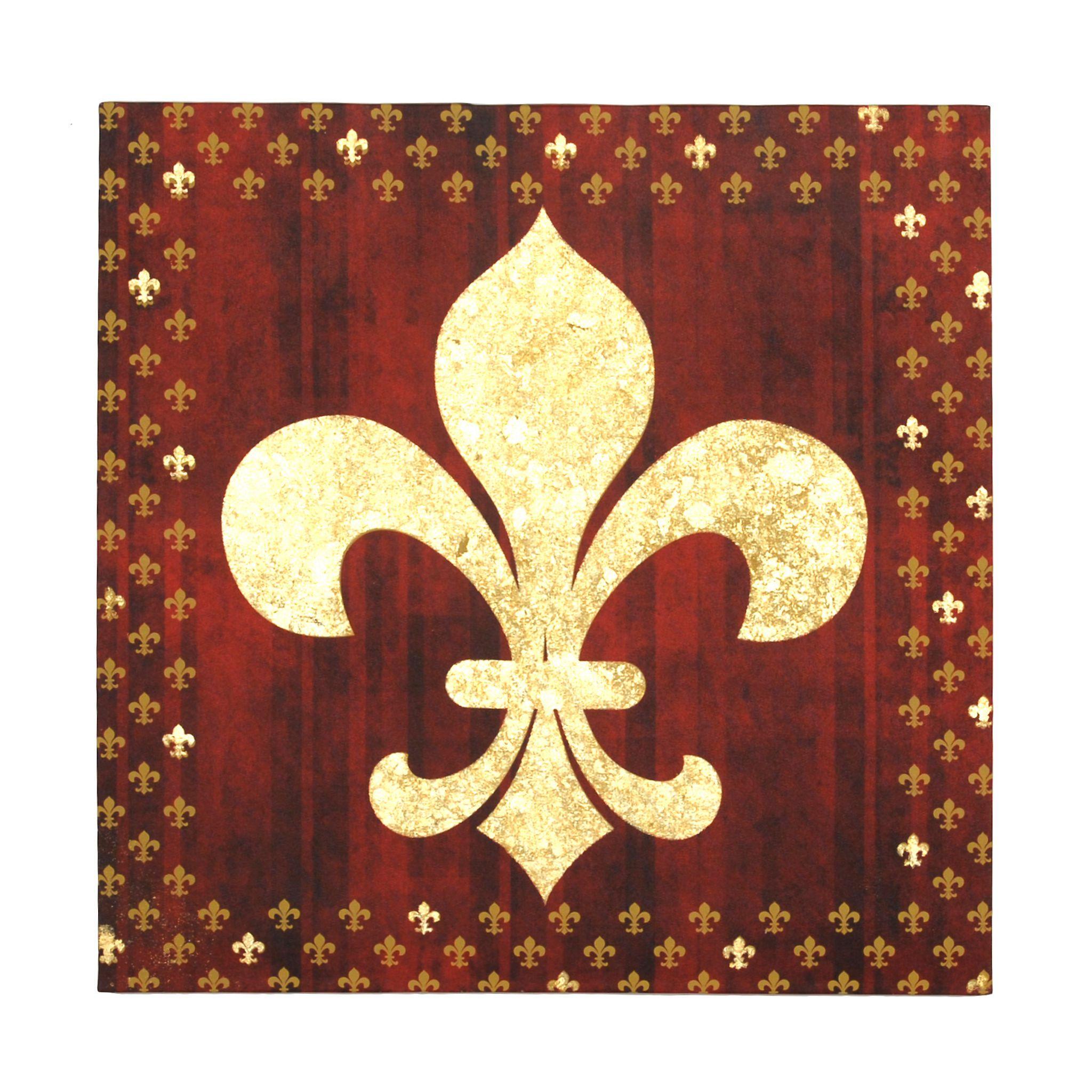 Red Foil Fleur-de-Lis Canvas Art Print | Pinterest | Canvases, Wall ...