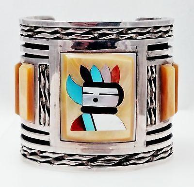 MTPANTEAH-ZUNI-Southwestern-Sterling-amp-Inlaid-Stone-Cuff-Bracelet-104-1-grams