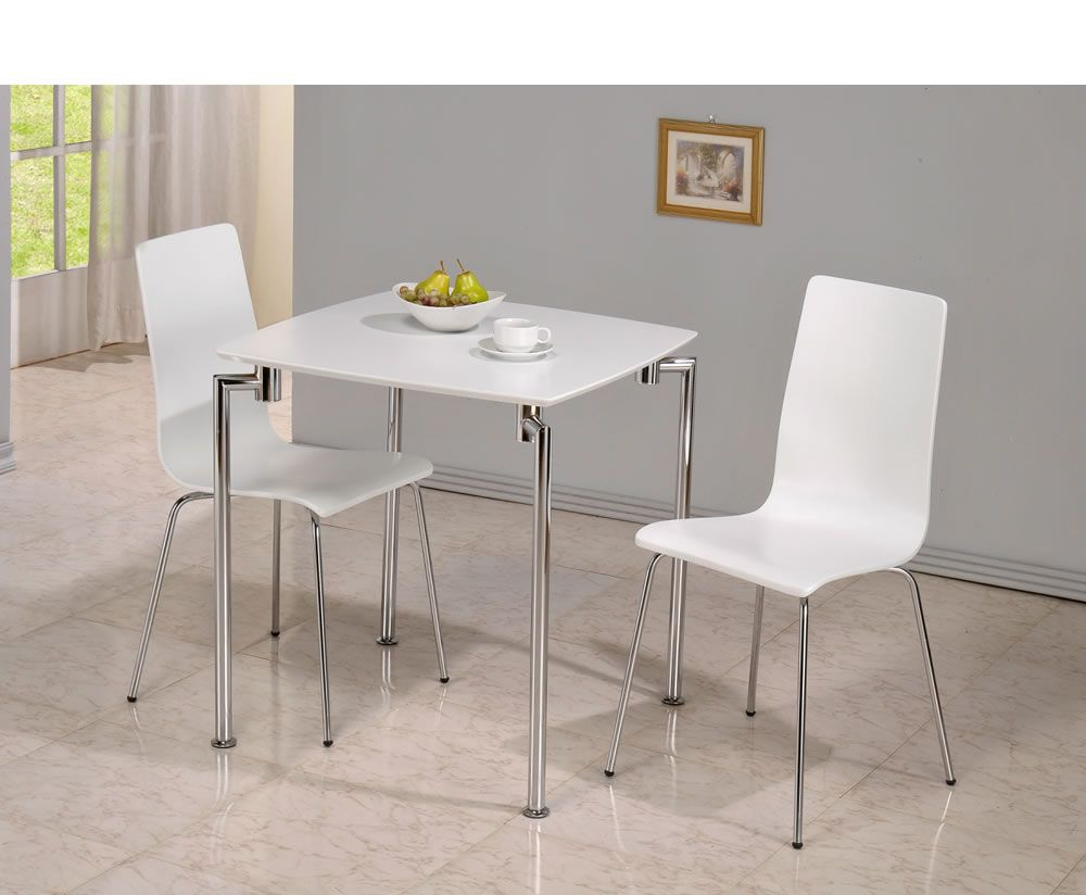 Dove White 2 Seater Square Breakfast Table And Chairs Kitchen
