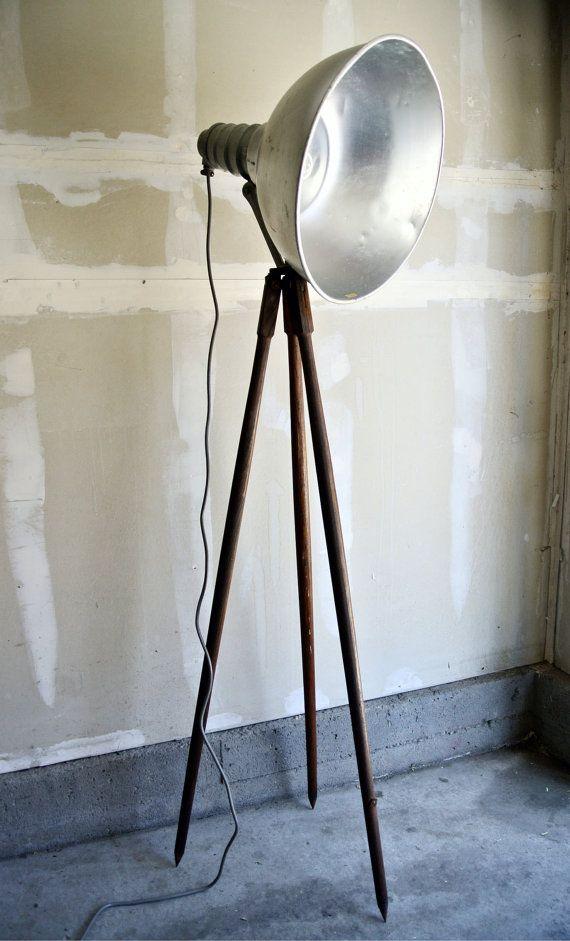 Reclaimed wooden tripod floor lamp large industrial studio light