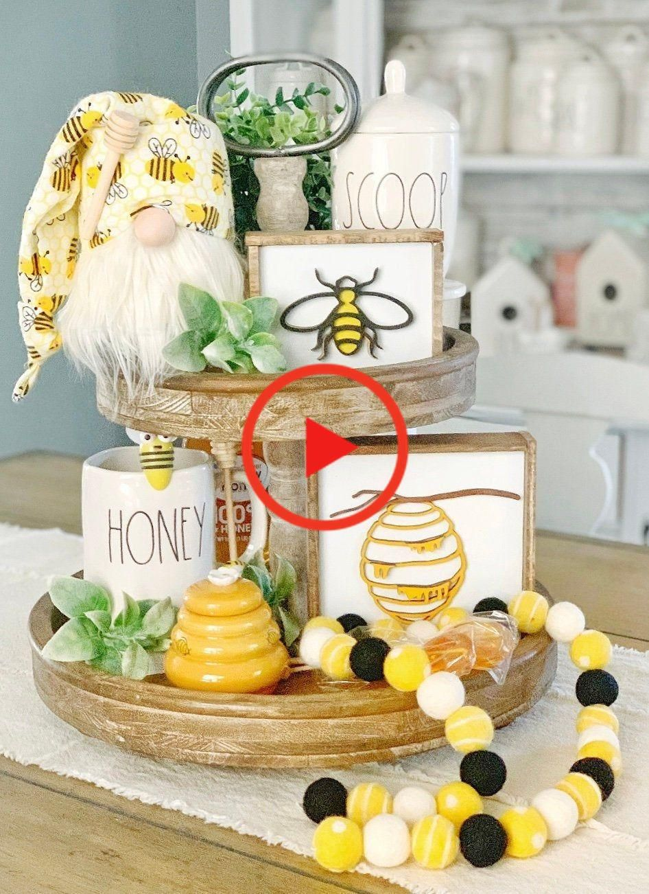 Bee signs / honey signs / bee decor / 3D signs / summer signs / spring signs / tiered tray decor #homedecor