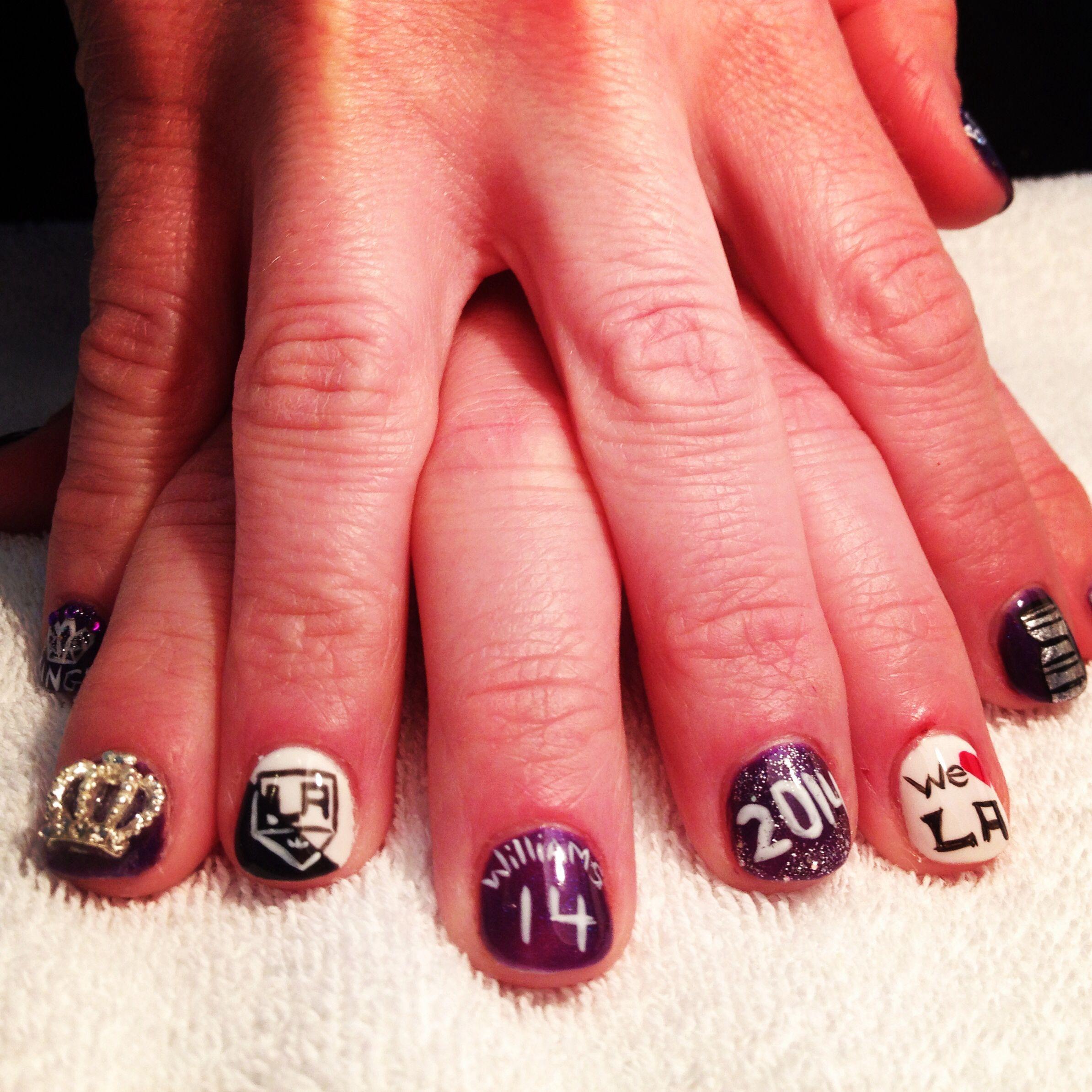 Los Angeles Kings Nails #omg nails anchorage Alaska | Los Angeles ...