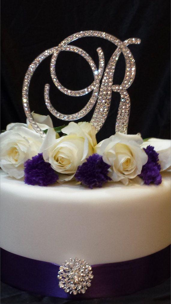 Letter R- Swarovski Crystal Monogram Cake Topper Wedding cake ...