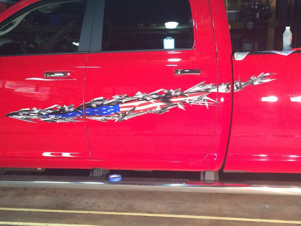 American flag decals on a red dodge ram truck photos added to the customer gallery by xtreme digital graphix