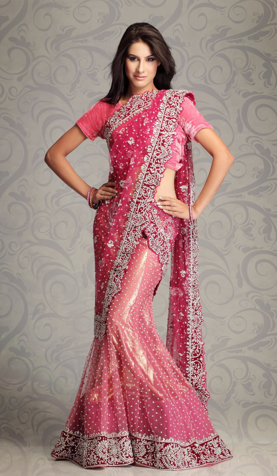 designer indian saree | Pink Net Designer Indian Party Wear Saree ...