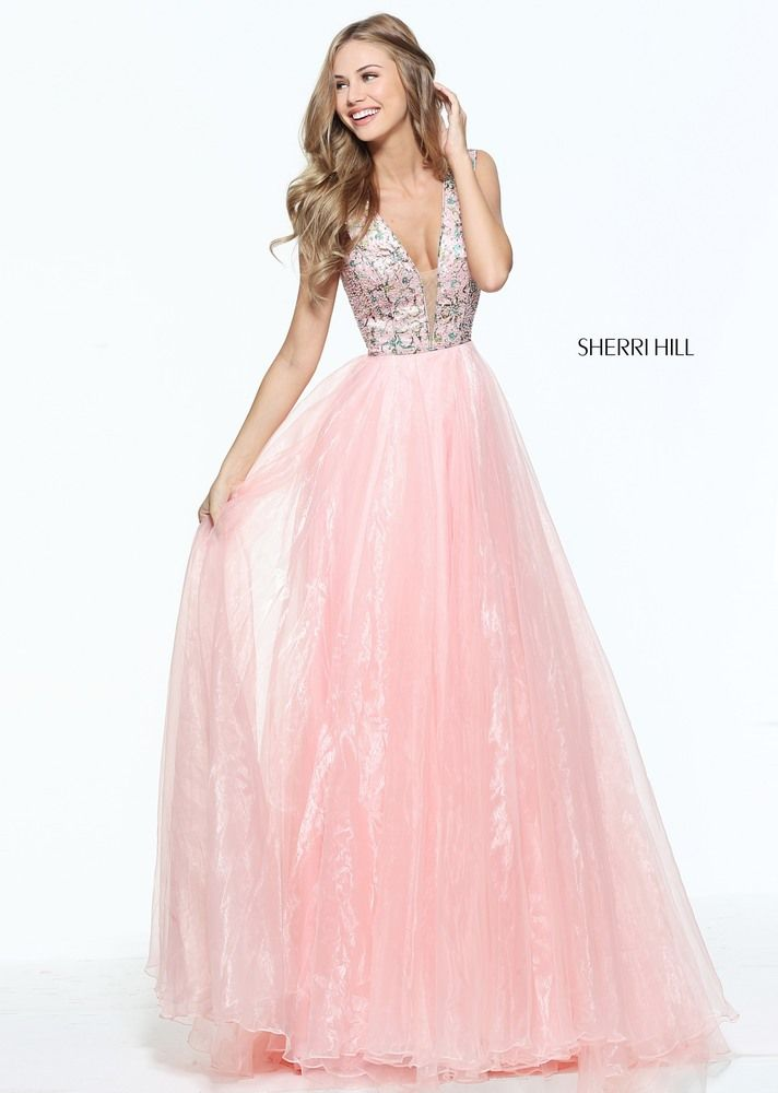 Sherri Hill 50970 pink shimmer organza prom dress with embroidered ...