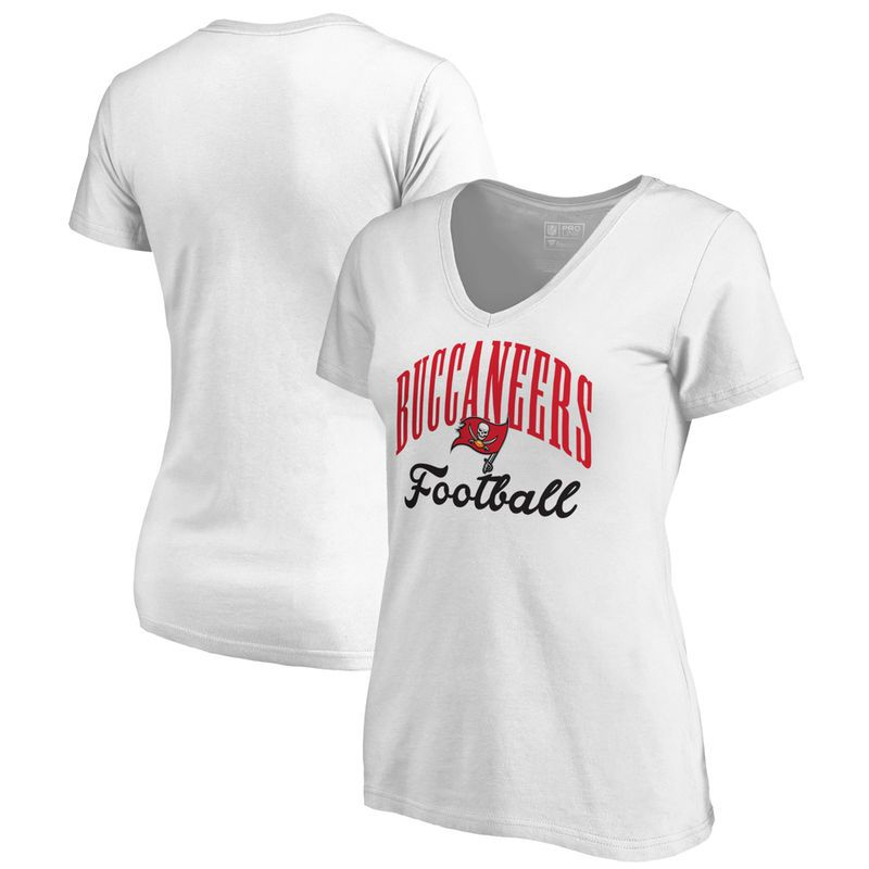 Tampa Bay Buccaneers NFL Pro Line by Fanatics Branded Women s Victory Script  V-Neck T-Shirt -White 44ad75cf9