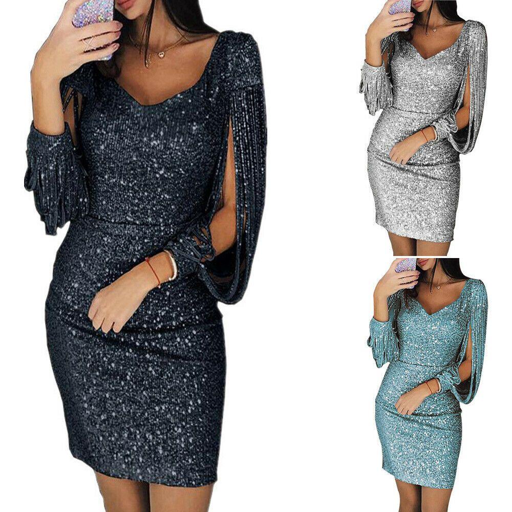 Spitze Kleid Damen V-Ausschnitt Langarm Bleistiftkleid Abend Party Cocktailkleid
