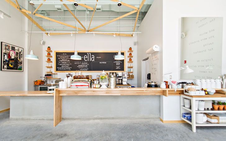 Cafe, chalkboard, concrete, industrial, ply
