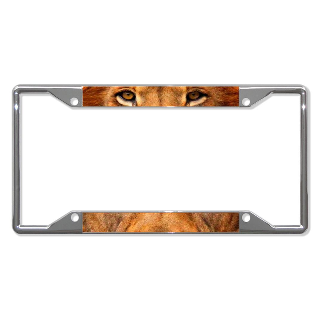 LION ANIMAL EYES Metal License Plate Frame Tag Holder Four Holes ...