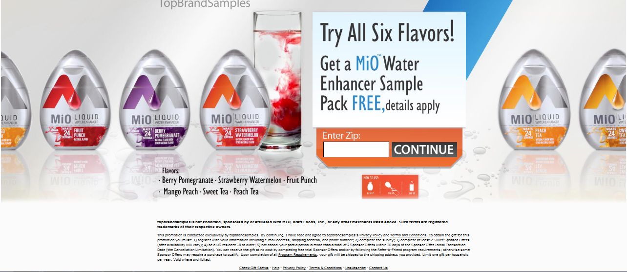 try all six  flavor  Get  a MIO Water Enhancer Sample  Park  Free  Details  Apply,