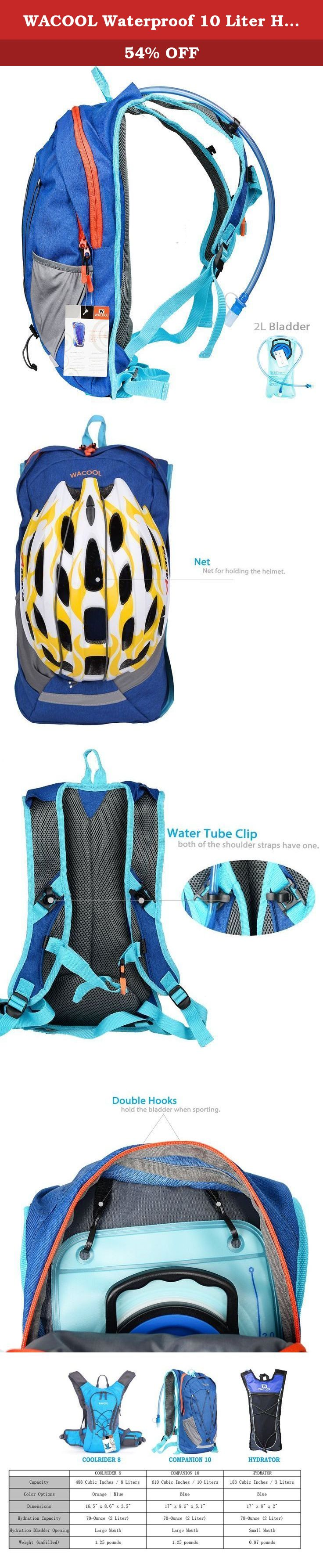 WACOOL Waterproof 10 Liter Hydration Bladder Pack, Cycling