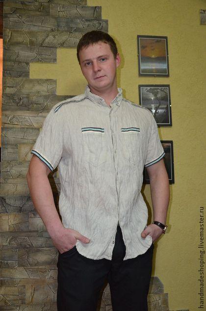 Рубашка мужская Льняная. Мужская рубашка с короткими рукавами   натуральный лен 100%   Застежка кнопки   Жатка гладить не обязательно  Перед покупкой уточните ваши размеры     Цена с…