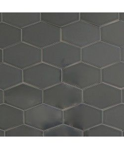 Clayhaus Stretch Hex Carbon Dark Gray Ceramic Tile