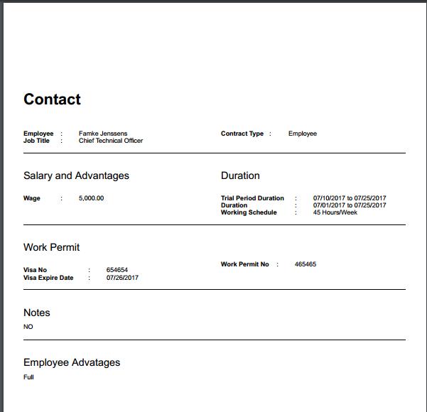 Odoo Employee Contract Report - To Print Employee Contract