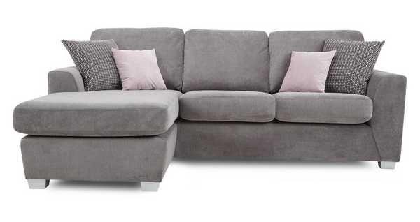 4 Seater Lounger Glacier Grey Corner Sofa Lounger Fabric Sofa