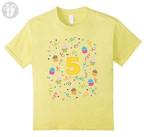 Kids Cupcake Birthday Shirt Age 5 Five Year Old Girl Boy 5th 4 Lemon