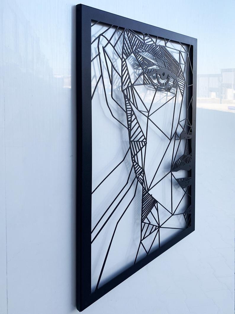 Abstract Woman Face Metal wall art, metal wall sculpture ...