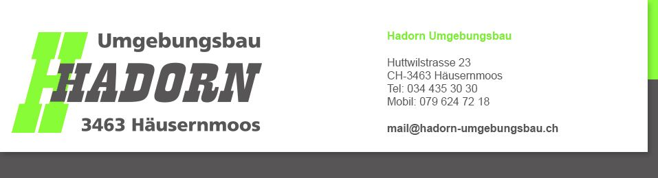 Suchen Sie etwas zum Thema Gatenbau Bern oder Gartengestaltung Bern? Dann sind Sie bei Hadorn Umgebungsbau genau richtig! Simon Hadorn bietet alles zum Thema Betonzaun Montage, Betonzaunsystem, Gerüstbau, Baggerarbeiten, Abziehsysstem, Verlegezange und Verbunstein. Alles was Sie für die Neugestaltung brauchen.