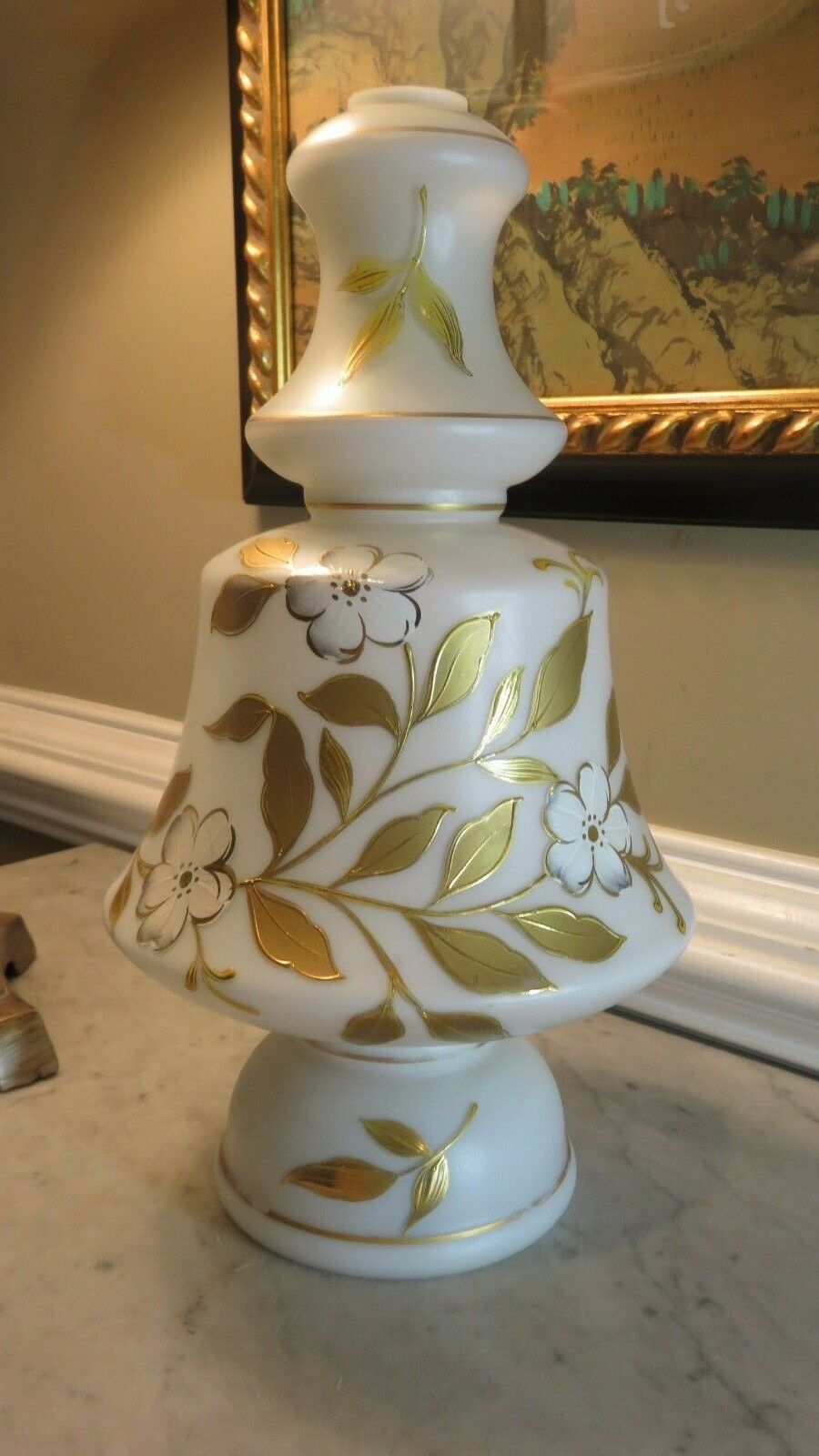 Details About Antique Hand Painted Lamp Base Glass Only Gold W White Dogwood Flowers 14 In 2020 White Lamp Base Ceramic Lamp Base Painting Lamps