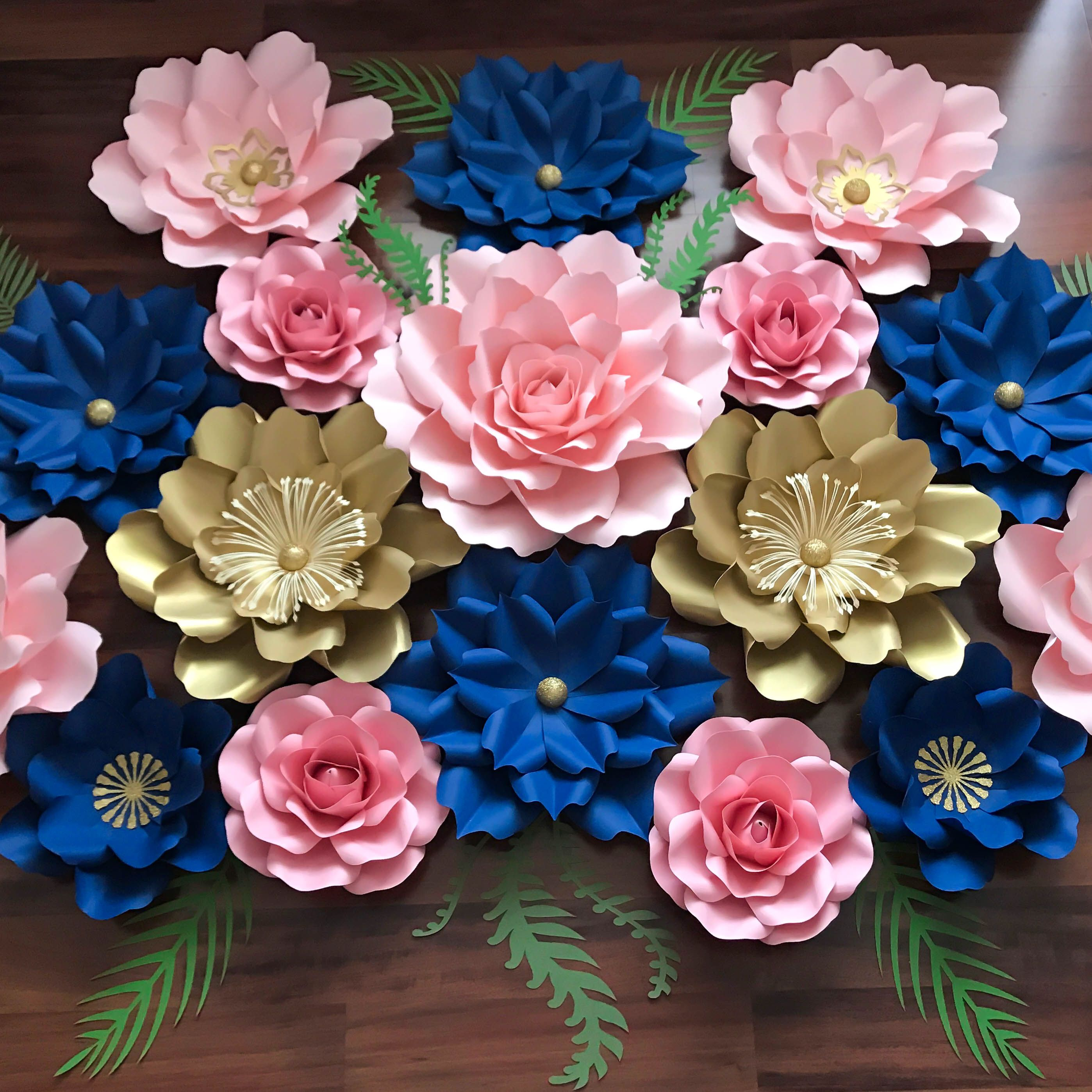 Gold, royal Blue and Pink Paper Flower Set. Paper Flower Templates ...