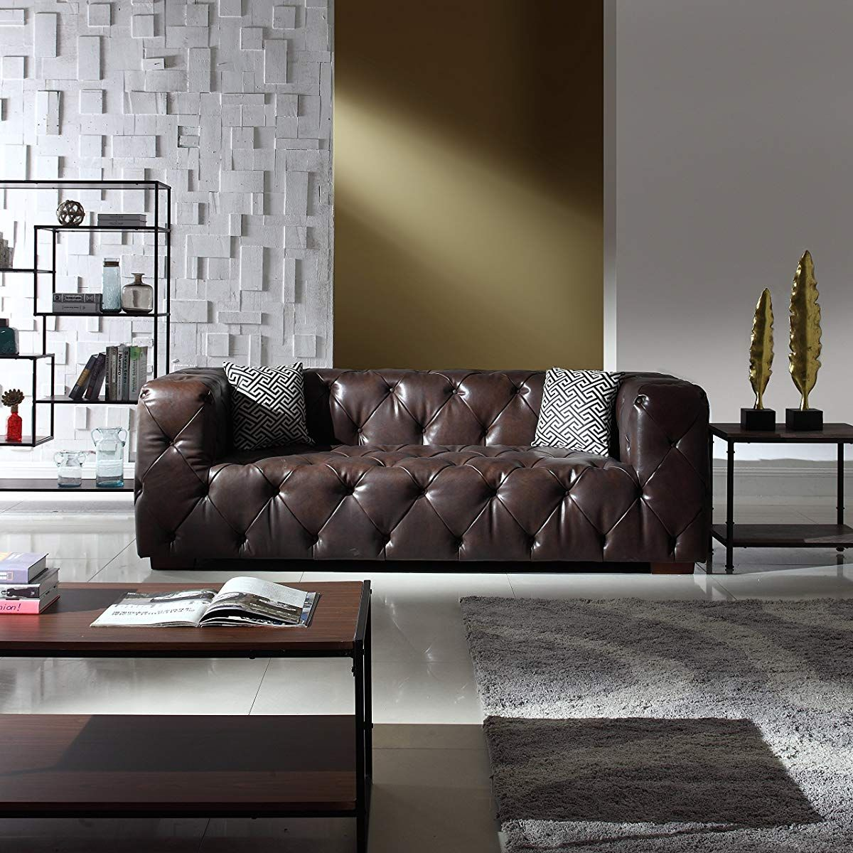 Awesome Large Tufted Leather Chesterfield Sofa Dark Brown Tufted Uwap Interior Chair Design Uwaporg