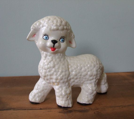 Shabby Vintage Lamb Ceramic Figurine by jessamyjay on Etsy, $6.00