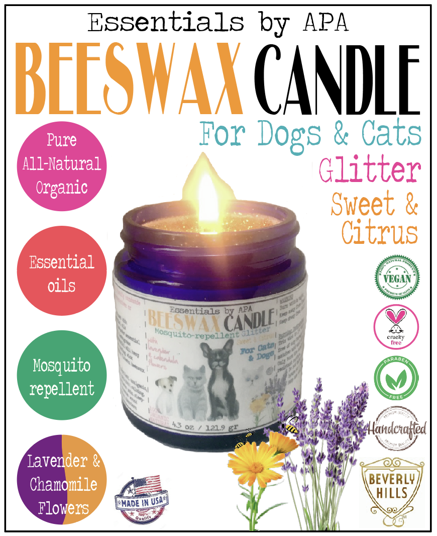 Beeswax Candle Mosquitorepellent Sweet Citrus for Cats