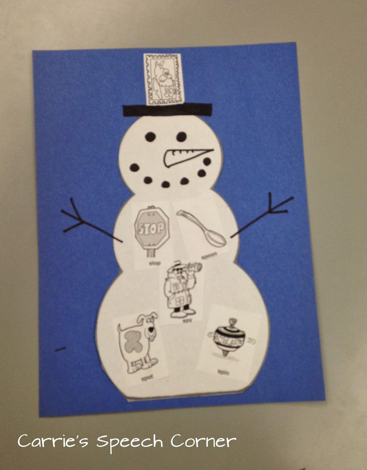 Carrie S Speech Corner Book Of The Week Sneezy The Snowman Amp S Blend Snowman Craft