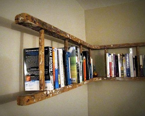 Love This Idea Horizontal Hanging Ladder Shelf Bookshelves Diy