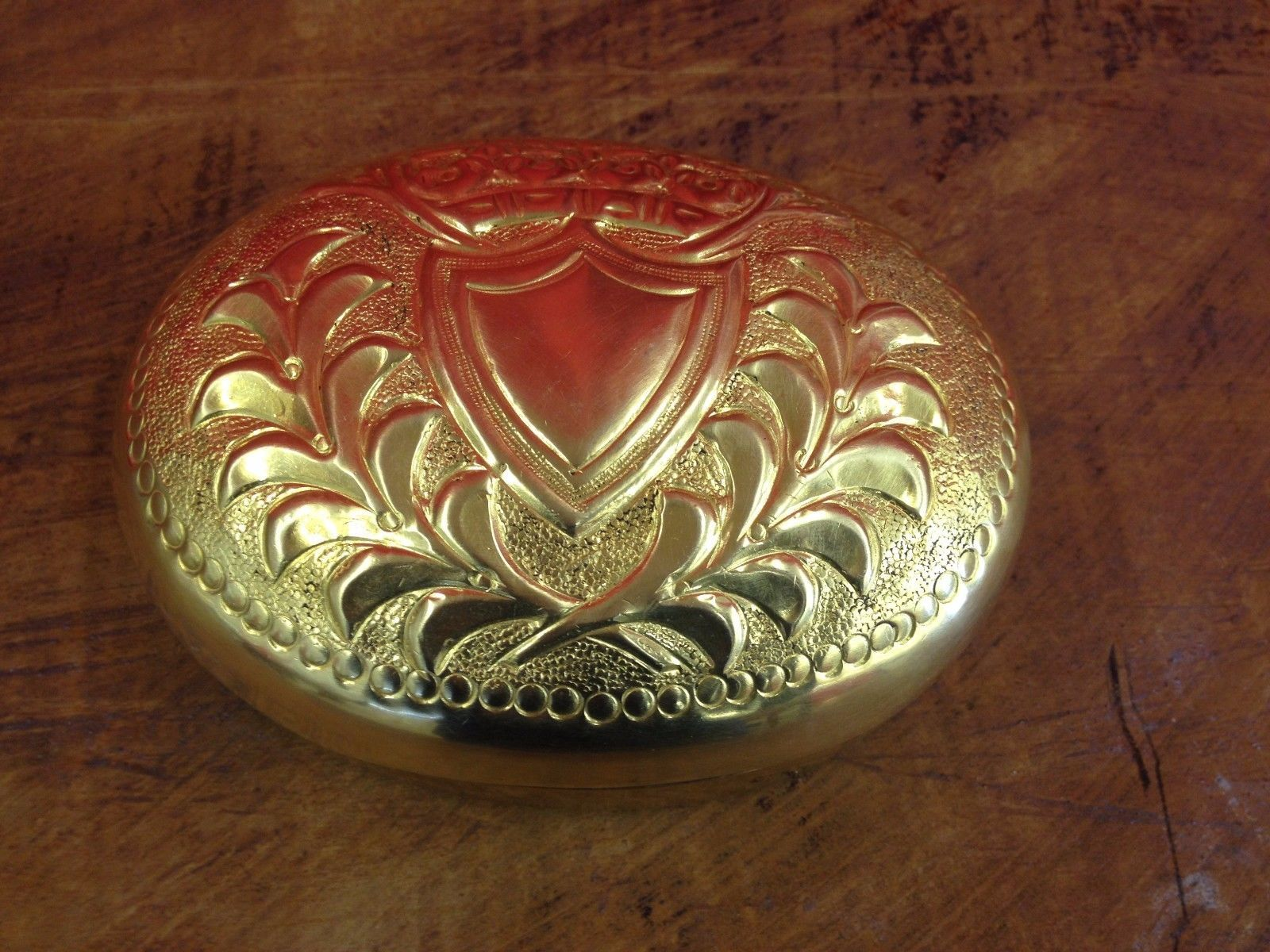 Vintage brass embossed soap holder box bathroom decor collectible
