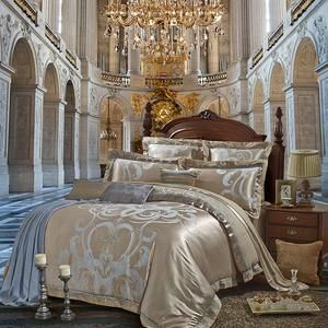 Photo of Sliver Golden Luxury Satin Jacquard Bedding Sets Embroidery Bed Set Double Queen King Size Duvet Cover Bed Sheet Set Pillowcase