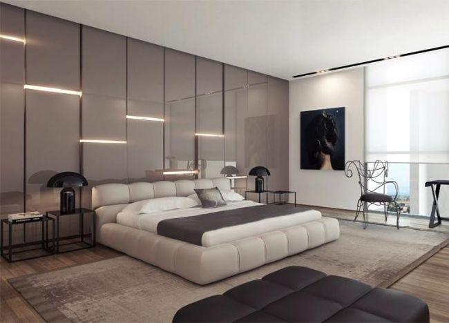 attraktive wandgestaltung hochglanz einbauleuchten hinter bett - schlafzimmer gestalten wnde