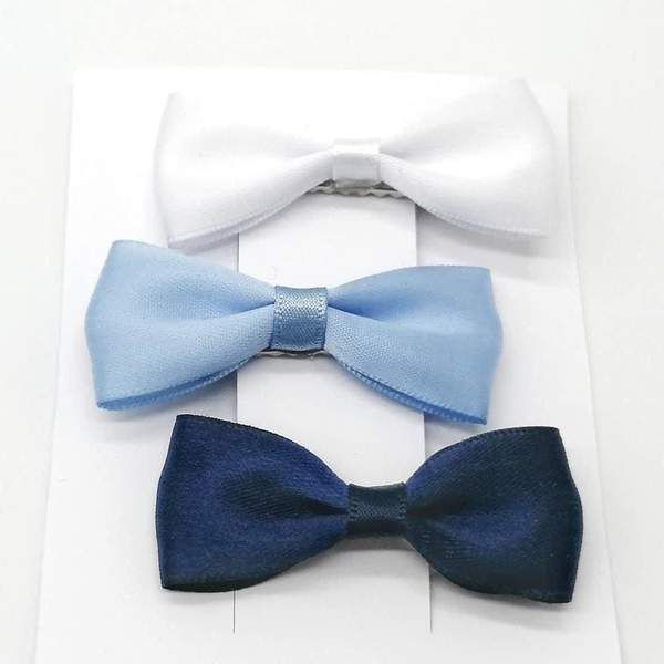 Blue and white hair bow clip set