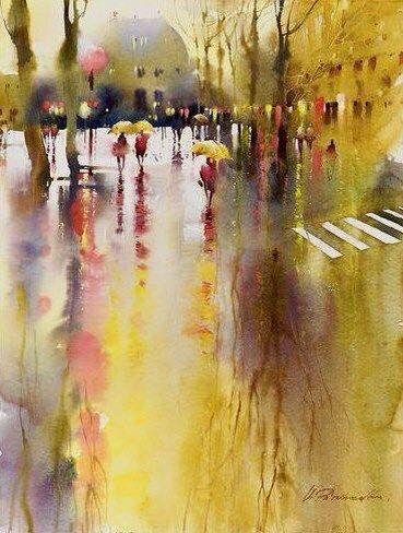 Watercolor Paintings By Artist Frank Webb Vignette Of Wharf