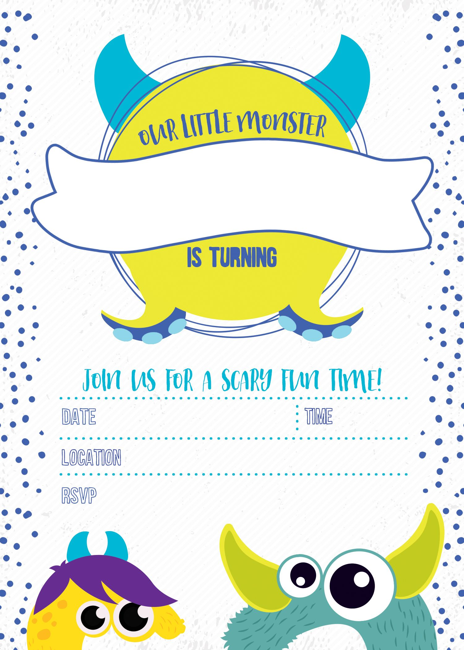 free printable monster birthday party invitations ...