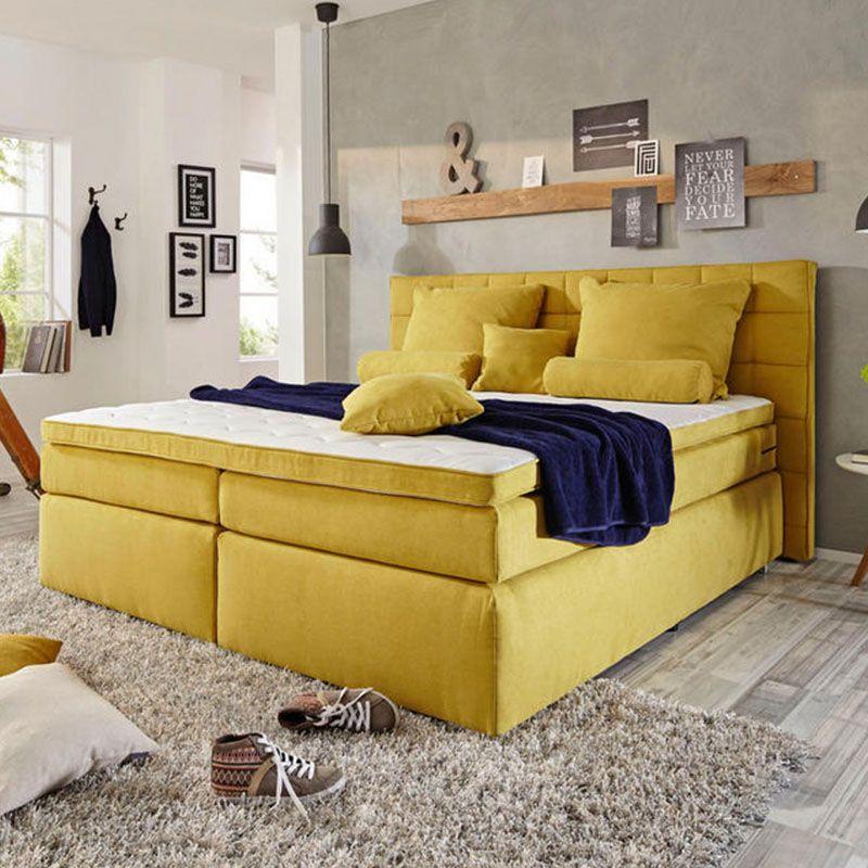 BOXSPRINGBETT 180/200 cm in Gelb Boxspringbett, Bett und